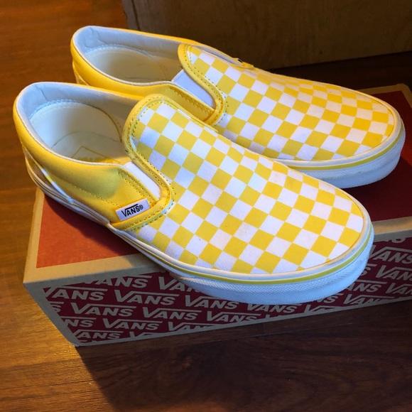 Vans Shoes | Vans Yellow Checkered Slip